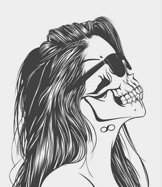 draw, love, skeleton, sun glasses