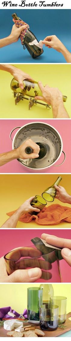 Wine Bottle Tumblers - http://homerepairimprovementremodeling.com/2013/08/wine-bottle-tumblers/