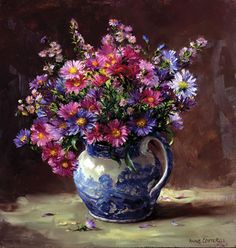 Michaelmas Daisies - Signed Print | Mill House Fine Art – Publishers of Anne Cotterill Flower Art