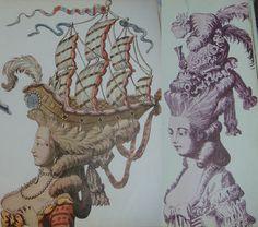 rococo headwear | Rococo sailboat on head, Marie Antoinette wig and hat, crazy boat hair ...