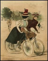 La Nouvell Mode cover of 1897 showing typical cycling dress with tailor made elements.