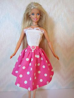 Handmade Barbie doll clothes  white and pink by TheDesigningRose, 7.00