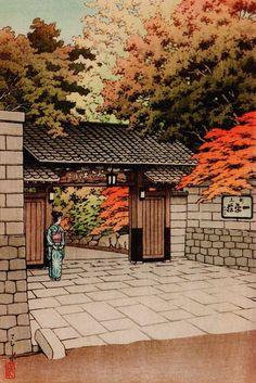 Kawase Hasui(川瀬巴水),100 Famous Restaurants in Tokyo Ipeisou, Kagurazaka(昭和東都著名料亭百景 神楽坂 一平荘),Date: 1940, published by Tada Tetunosuke(多田鉄之助)
