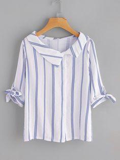 SheIn - SheIn Vertical Striped Tie Cuff Blouse - AdoreWe.com