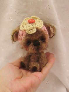 BUTTON A cute 5 inch Mohair Yorkshire Terrier by Kazziesbruins, £48.00