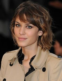 Alexa Chung Hairstyles: Medium Layered Hair Style: This highlighted hairstyle is shaped into a beautiful sleek modern bob with dimensional layers and sweeping bangs. The two tone hair and thick waves are interesting elements that keep the look unique. The soft bangs are swept to the side framing the face. The medium layers throughout add volume and interest and also keep the hairstyle from looking heavy. - See more at: http://pophaircuts.com/10-alexa-chung-hairstyles#sthash.ZLp2Vgxm.dpuf