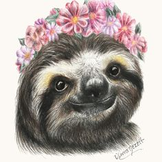 Spring Sloth Art Print by Olivia Bezett