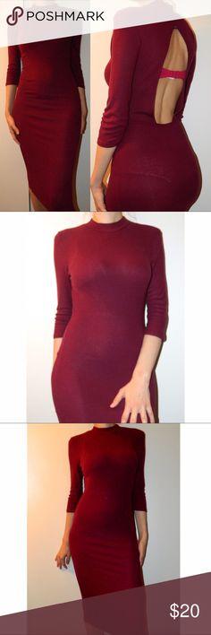 Open back burgundy bodycon dress NWT Dresses Midi