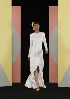 Talaia from Charlie Brear wedding dresses 2017 - Sandwashed silk dress with open slit in the front. Long sleeves and high neck -  see the rest of the collection on www.onefabday.com
