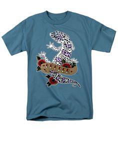 Keeper Leopard Gecko T-Shirt in slate blue by Donovan Winterberg