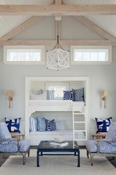 Gray and blue boys bedroom + built in bunk beds Decor Home Living Room, Coastal Living Rooms, Living Room Designs, Bedroom Decor, Home Decor, Bedroom Ideas, Glam Bedroom, Bedroom Interiors, Pretty Bedroom