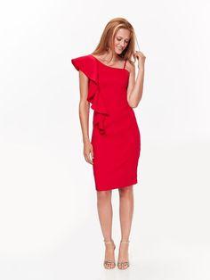 f0b392c394 sukienka damska gładka czerwona - SSU2204 TOP SECRET