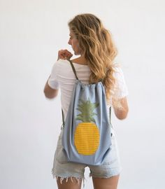 pineapple backpack rucksack light blue grey color with by Marinsss