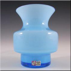 Lindshammar Gunnar Ander Swedish Blue Glass Vase - Label - £69.99