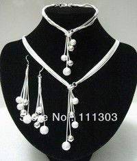Wish | 925 Sets - Beads Jewelry Marriage sets 925 sterling silver Jewelry Set for women Silver Plated Necklace+Bracelet+Earring