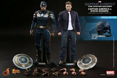 """Hot Toys 1/6 """"Captain America & Steve Rogers Collectible Figures Set"""""""