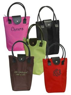 Fun Color Monogrammed Wine Bags from The Palm Gifts. You'll LOVE these Monogrammed Wine Tote Bags in a variety of fun colors! Hot Pink, Lime, Black, Brown or Red with your choice of Thread Color. Lightweight Wine Bags feature microfiber fabric with leathe Wine Tote Bag, Tote Purse, Tote Bags, Wine Gifts For Her, Wine Bottle Tags, Personalized Products, Personalized Wine, Red Bags, Monogram Gifts