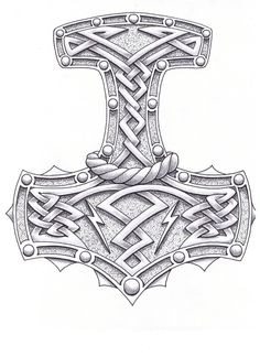 Thor Hammer Drawing Hammer of the gods by Norse Mythology Tattoo, Norse Tattoo, Celtic Tattoos, Viking Tattoos, Warrior Tattoos, Wiccan Tattoos, Inca Tattoo, Indian Tattoos, Maori Tattoos