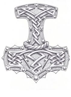 Mjolnir the Hammer of Thor Tatoo design.
