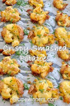 Recipes Snacks Savoury Crispy smashed potatoes are a perfect way to cook potatoes with an ultra crispy skin, crunchy nooks and crannies and soft buttery potato on the inside. Everyone loves these and they are they first to go at any barbecue we have. Potato Sides, Potato Side Dishes, Vegetable Side Dishes, Vegetable Recipes, Vegetarian Recipes, Healthy Recipes, Protein Recipes, Veggie Food, Healthy Sweets