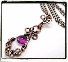 Victorian Purple Amethyst Copper Pendant by FashionWire