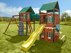 1650 The Prescott Wood Complete Play Set includes Cool Wave Slide, rock climbing wall, playhouse