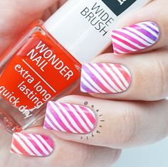 IsaDora Jelly Pop Nail Gloss - gradient nail art using striping vinyls from What's Up Nails.