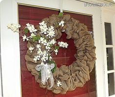 How to make a burlap wreath! It's much easier than you think!  I made mine with a wooden wreath base and the wire (from dollar store) worked like a charm. Burlap was from Michaels for $5 bucks! I have yet to buy the perfect ribbon, but all in all this versatile wreath will cost about $7 and can be decorated for every holiday!