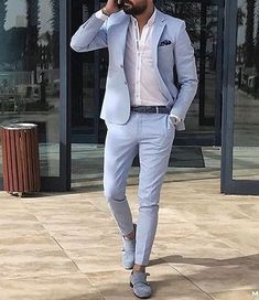 Summer Blue Men Suits 2018 Wedding Gentlemen Bridegroom Suit Slim Fit Groom Tuxedos Men s Classic Suit Best Men Blazers Prom Party 2 Pieces, Mens Fashion Suits, Mens Suits, Dapper Suits, Fashion Vest, Groomsmen Suits, Fashion Rings, Trendy Fashion, Fashion Shoes, Luxury Fashion