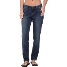 Prana Honour Jean (Denim) Women's Jeans ($35) ❤ liked on Polyvore featuring jeans, blue, mid rise boyfriend jeans, blue jeans, stretch jeans, relaxed jeans and blue denim jeans