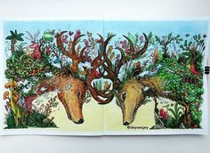 """WEBSTA @ dayanajey - No filters - Deers from the """"Animorphia"""" coloring book…"""