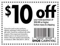 Shoe Carnival 10 Off Purchases 50 Or More Printable Coupon Expires February 9 2014