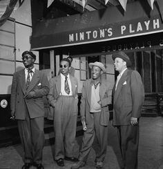 Hip Cats | 1947  Portrait of jazz legends Thelonious Monk, Howard McGhee, Roy Eldridge, and Teddy Hill in front of Minton's Playhouse in Harlem, N.Y, 1947.