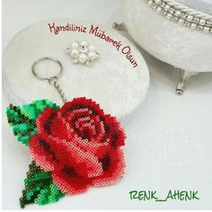 Rose keyring hama mini beads by renk__ahenk