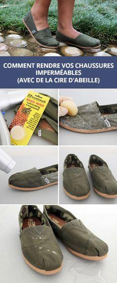 Rendre vos chaussures imperméables avec de la cire d'abeille