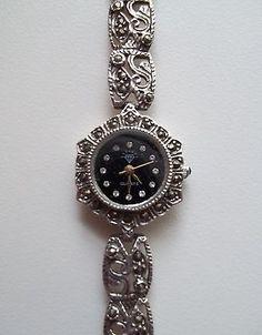 Vintage Sterling Silver.925 Marcasite quartz watch bracelet *NEW BATT*~FREE S&H~