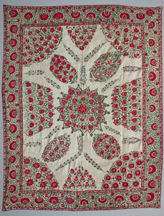 Great Nurata Suzani, Central Asian textiles, Uzbekistan. Wallhanging, silk embroideried on cotton. 19 th c.