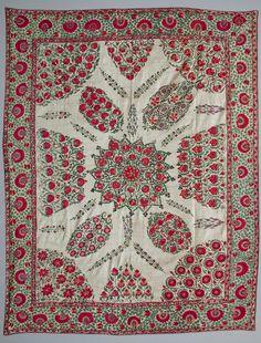 Great Nurata Suzani, Central Asian textiles, Uzbekistan. Wallhanging, silk embroideried on cotton. 19 th c.