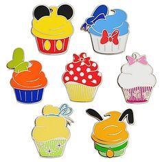 Disney Character Cupcake Pin Set .