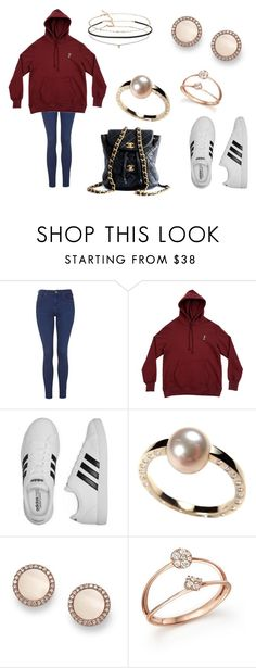 """""""adidas + chanel"""" by femalerebell ❤ liked on Polyvore featuring Topshop, Born x Raised, adidas, Géraldine Valluet, FOSSIL, Bloomingdale's, Chanel and Miss Selfridge"""