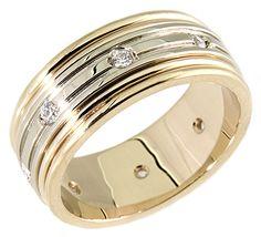 0.25Ct. Round Diamond 14K. Two Tone Gold Men's Wedding Band