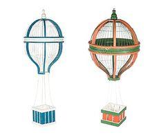 Set de 2 globos aerostáticos decorativos – rojo y azul