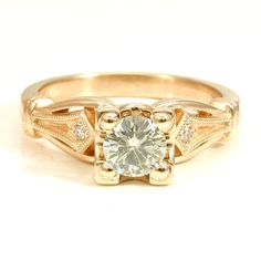 Art Deco Square Engaement ring with Antique Detailing - 14k yellow gold with Moissanite and Diamonds