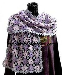 Crochet Flower Scarf, with links to pattern charts and photo tutorial Shawl Crochet, Crochet Flower Scarf, Crochet Granny, Crochet Scarves, Irish Crochet, Crochet Clothes, Crochet Flowers, Crochet Lace, Poncho Shawl
