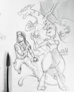 Live streaming this drawing. Come watch me finish it up ;D. This is only one half.. #charizard #mewtwo #sketch