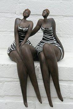 Two graces.by Hans&Bernadette te Wierik. Ceramic Figures, Ceramic Art, African American Art, African Art, Modern Sculpture, Sculpture Art, Sculptures Céramiques, Ceramic Sculptures, Clay Art