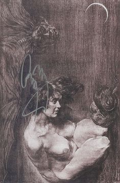 """Postcard is of a small reproduction of an Austin Osman Spare's """"The New Eden"""" autographed by Jimmy Page.    """"The New Eden"""" was first published by Chapman & Hall in 1922 in The Golden Hind, Vol 1. No. 1.   The Golden Hind, was an artistic and literary magazine that appeared from October 1922 and folded in July 1924 only after eight issues."""