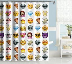 "Uphome Cute Emoji Emoticon Pattern Kids Bathroom Shower Curtain - White Background Polyester Fabric Kids Decorative Curtain Ideas (72""W x 78""H)"