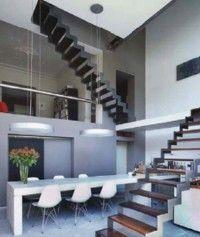 Dubbele trap, gecombineerd staal en hout