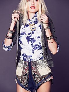 Color Between Borders Smocked Skort at Free People Clothing Boutique